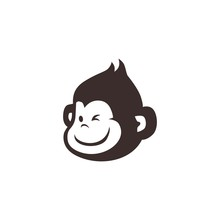 Little Monkey Chimp Logo Vecto...