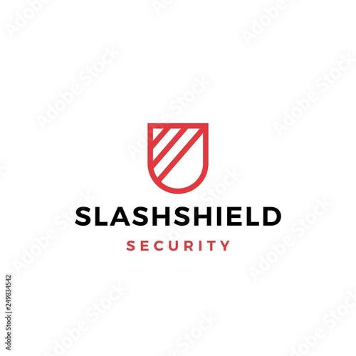 Photo  slash shield logo vector icon