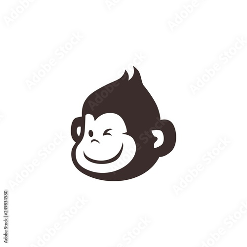 Leinwand Poster little monkey chimp logo vector icon illustration