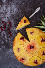 Pineapple Upside Down Cake. Top View. Dark Background.