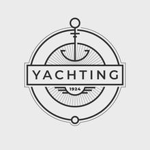 Yachting Club Logo Set. Yachting, Yahct Club Logo Set With Boad, Sail. Yacht Sport. Vector Illustration.