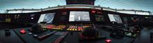 Panorama Des Fahrpultes Eines Modernen Schiffes