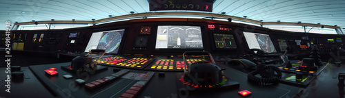 Photo Panorama des Fahrpultes eines modernen Schiffes