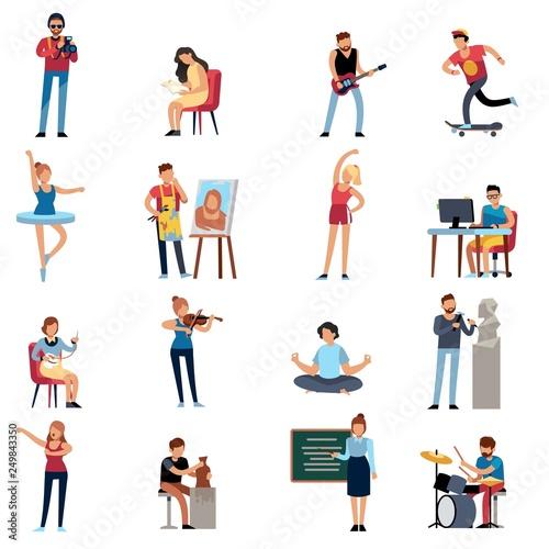 People hobbies. Photographer happy teenage artist writer illustrator designer cartoon vector set Wall mural