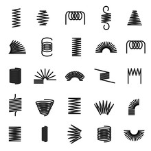 Metal Springs. Twisted Spiral, Flexible Coil Wire Suspension Black Spring Vector Line Icons