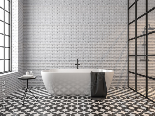 Fotografie, Obraz  Scandinavian loft style bathroom 3d render,There are white brick wall, black and white tile floor pattern, There are black metal frame window nature light shining into the room
