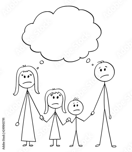 Cartoon stick figure drawing conceptual illustration of unhappy