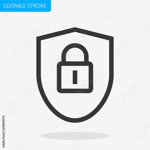 Pinturas sobre lienzo  Security Shield Padlock Line Icon Editable Stroke Pixel Perfect Vector