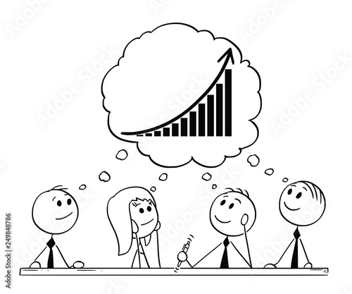 cartoon stick figure drawing conceptual illustration of team of businessmen and businesswoman having brainstorming thinking about success and growth buy this stock vector and explore similar vectors at adobe stock cartoon stick figure drawing conceptual