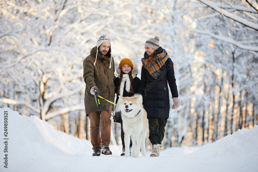 Fototapeta Full length portrait of happy family enjoying walk with dog in winter forest, copy space
