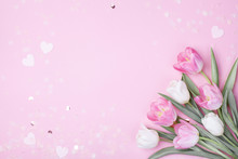 Spring Tulip Flowers On Pastel Pink Background Top View. Greeting Card For International Women Day, Mother Day. Flat Lay.