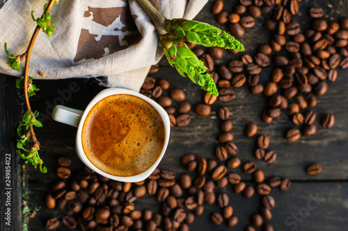 cup of hot coffee (coffee beans) - arabica and robusta blend, roasted coffee grain Canvas Print