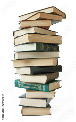 Fotografía  book pile isolated on white background