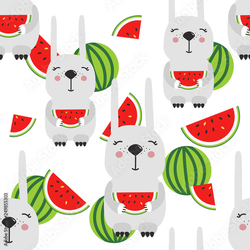 Rabbits with watermelons, hand drawn backdrop. Colorful seamless pattern with animals. Decorative cute wallpaper, good for printing. Overlapping colored background vector