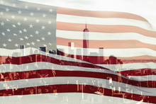Double Exposure With The American Flag And The Skyscrapers Of New York City, Manhattan.  USA. Concept
