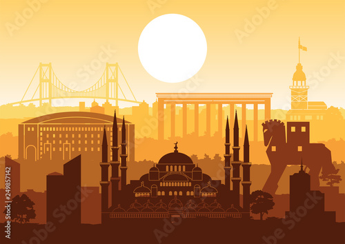 Garden Poster Brown Turkey famous landmark silhouette style with row design on sunset time,vintage color