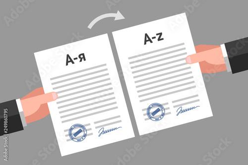 Fotografía  Documents translation concept