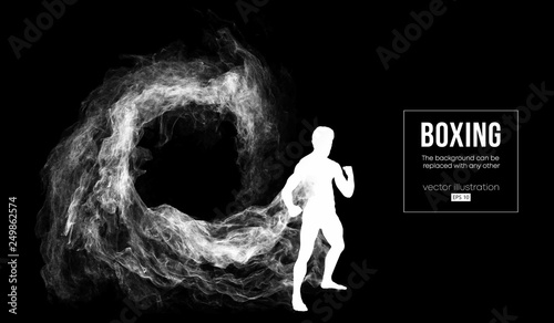 Obraz na plátně Abstract silhouette of a boxer, mma, ufc fighter on the dark, black background from particles, dust, smoke, steam