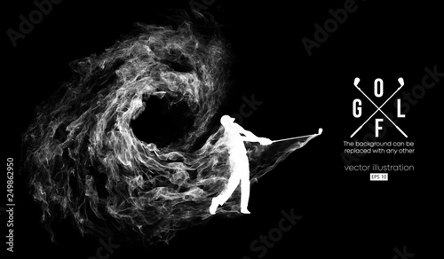 Foto Abstract silhouette of a golf player, golfer on the dark, black background from particles, dust, smoke, steam