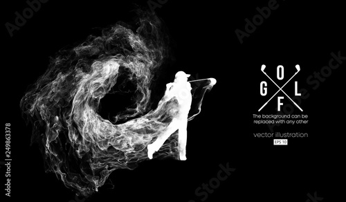 Fotografía  Abstract silhouette of a golf player, golfer on the dark, black background from particles, dust, smoke, steam