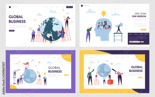 Photo  People Character Make Global Business on Front Earth Landing Page
