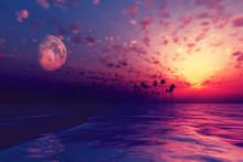 Sun And Moon Behind Island