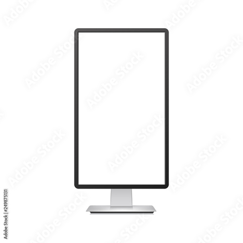 Realistic vertical TV monitor mockup with white screen. Vector. Wall mural