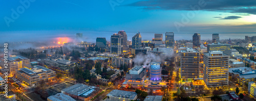 Door stickers New York Aerial view of downtown Sacramento at sunset