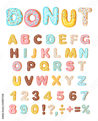 Photo  Donut icing latters, font of donuts