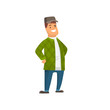 Friendly Smiling Driver Character in Casual Clothes Vector Illustration