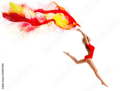 Fotografie, Obraz  Sport Woman Jumping with Flying Cloth, Happy Gymnast Girl with Fluttering Fabric
