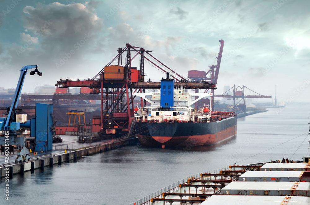 Fototapeta cago géant dans le port