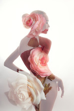 Portrait Of A Naked Girl With Double Exposure On A Background Of Rose Flowers. Art Nude Woman With Perfect Figure On White Background, Isolated Colors
