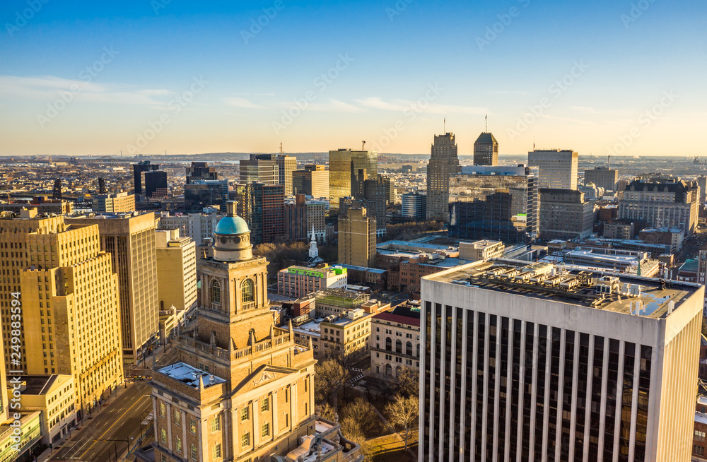 Fototapety, obrazy: Aerial view of Newark New Jersey skyline on late sunny afternoon