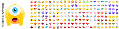 Set of Modern Realistic Emojis Canvas Print