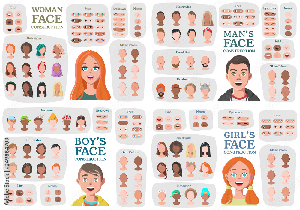 Fototapeta Woman, Man, Girl, Boy Character Constructors