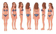Vector Illustration Of Smiling Women In Bikini