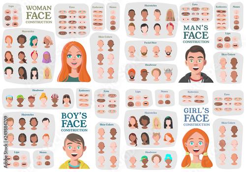 Fotografie, Tablou Woman, Man, Girl, Boy Character Constructors