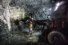 Drilling To Place Explosives At An Underground Tunnel At A Copper Mine In NSW Australia