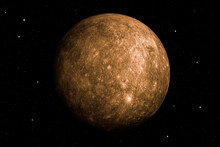 3d Rendering Of Mercury Planet With Deep Space Background. Surface Texture Furnished By NASA.