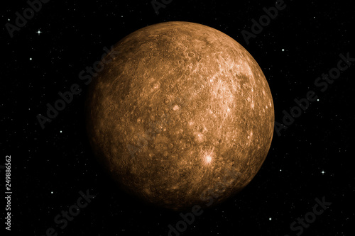Fototapeta 3d rendering of Mercury planet with deep space background