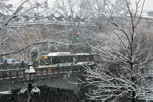 Tormenta Di Neve In Città Con Traffico E Semaforo