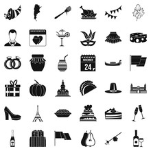 Autumn Wine Icons Set. Simple Style Of 36 Autumn Wine Vector Icons For Web Isolated On White Background