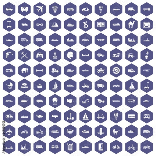 Fotografija  100 transport icons set in purple hexagon isolated vector illustration