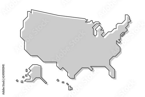 Obraz United States of America map . Modern simple line style . Vector . - fototapety do salonu