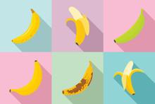 Banana Icons Set. Flat Set Of Banana Vector Icons For Web Design