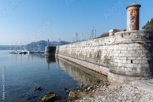 Veduta dei bastioni del porto di Angera Wallpaper Mural
