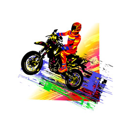 Motocross rider. Colorful v...
