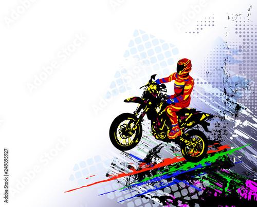 Motocross rider. Colorful vector illustration Wall mural