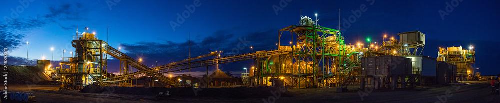 Fototapety, obrazy: Night view of a copper mine head in NSW Australia